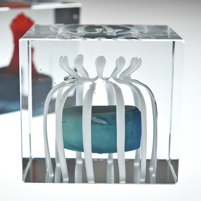【アンティーク iittala イッタラ (Nuutajarvi ヌータヤルヴィ)】iittala/イッタラ (Nuutajarvi/ヌータヤルヴィ) Oiva Toikka オイバ・トイッカ Annual Cube アニュアル キューブ 《ビンテージ/vintage/ヴィンテージ》<1990年>( キッチンブランチ )