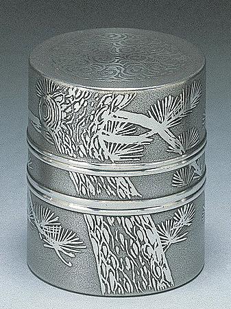 送料無料 大阪錫器 茶壷 イブシ 正規認証品 新規格 中次 桐箱入り 売れ筋 茶筒 3.0 キッチンブランチ