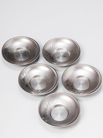 【送料無料】大阪錫器 茶托 イブシ 丸形 【桐箱入り/茶たく】<3.5>( キッチンブランチ )
