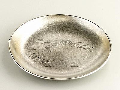 【送料無料】大阪錫器 銘々皿 4.0 富士 白 【桐箱入り】<2枚入り>( キッチンブランチ )