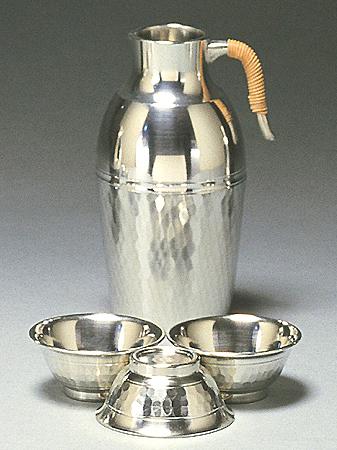 【送料無料】大阪錫器 小酒器 ツチメダイヤ (平足) 【桐箱入り】( キッチンブランチ )