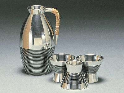 【送料無料】大阪錫器 小酒器 茶線みゆき (足付) 【桐箱入り】( キッチンブランチ )