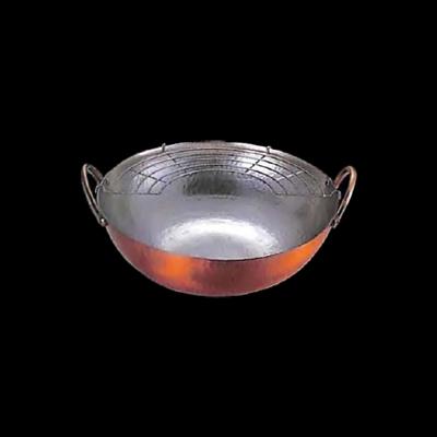 工房アイザワ 純銅鎚目文 両手揚げ鍋 アミ付 28cm (53)( キッチンブランチ )