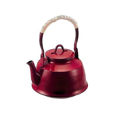 工房アイザワ 純銅鎚目文 化粧箱 朱塗り 湯沸まつかさ 1.6L (71-U)( キッチンブランチ )