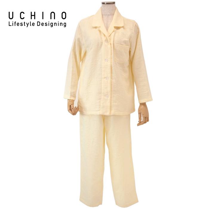 《 内野 uchino ねまき 》 ウチノ マシュマロガーゼ レディスパジャマ< L > イエローRP15682L Y