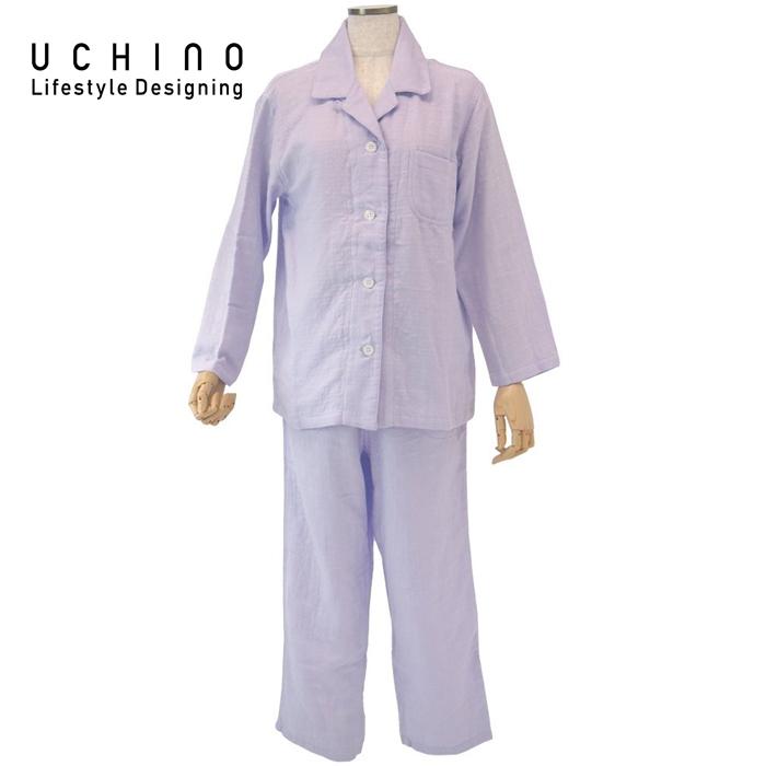 《 内野 uchino ねまき 》 ウチノ マシュマロガーゼ レディスパジャマ< L > バイオレットRP15682L V