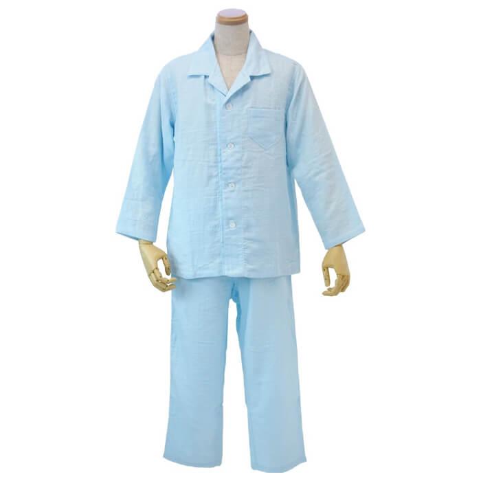 ウチノ マシュマロガーゼ メンズパジャマ< MB > ライトブルーRP15706M LB( キッチンブランチ )