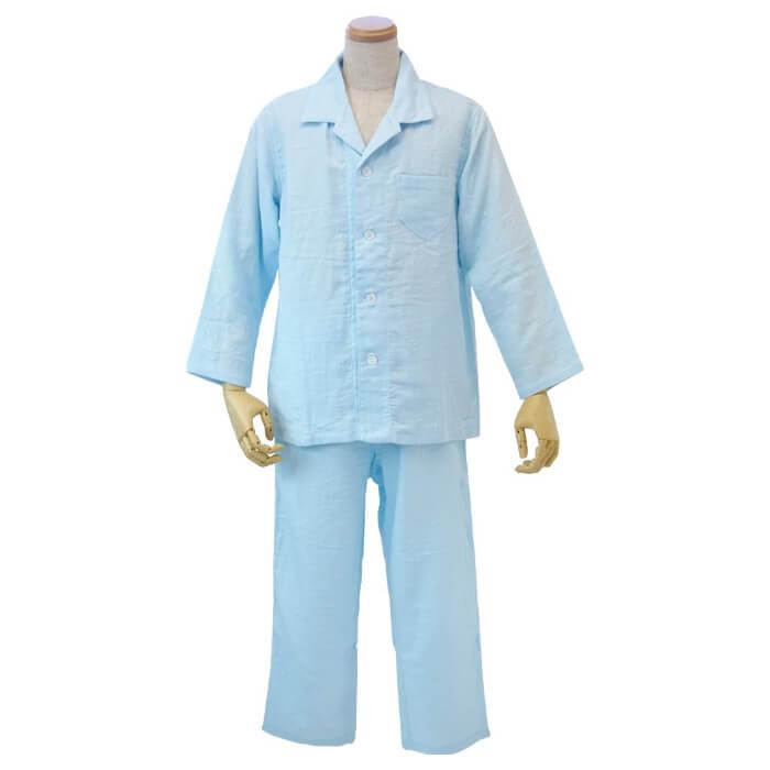 ウチノ マシュマロガーゼ メンズパジャマ< LA > ライトブルーRP15680L LB( キッチンブランチ )
