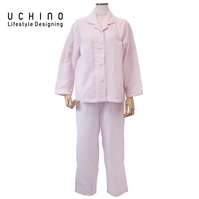 uchino ウチノ マシュマロガーゼストライプレディスパジャマ(S > ピンクRPZ18029 P S 《 ルームウェア 内野 ねまき 》