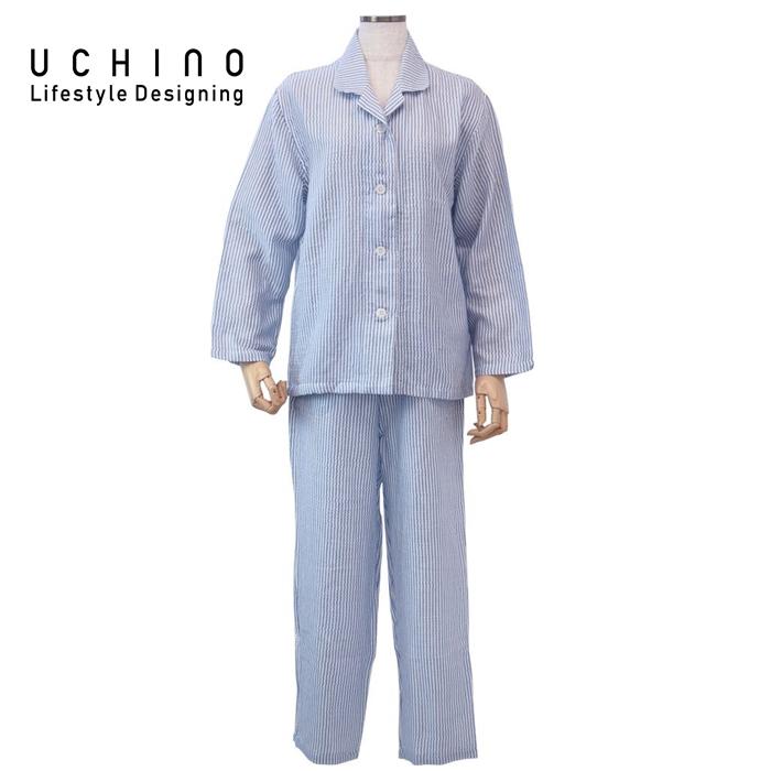 uchino ウチノ マシュマロガーゼストライプレディスパジャマ(L > ダークブルーRPZ18029 DB L 《 ルームウェア 内野 ねまき 》