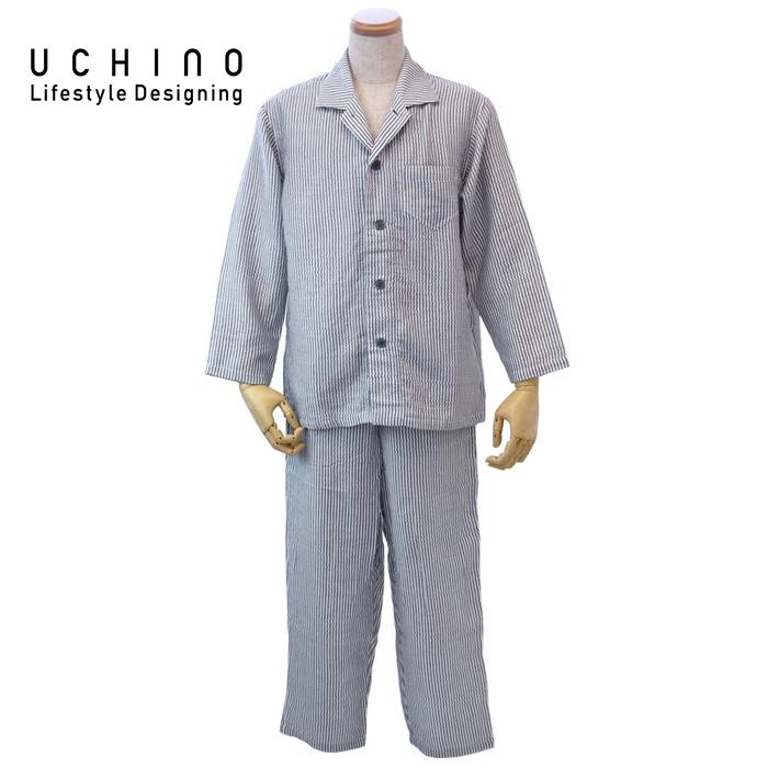 uchino ウチノ マシュマロガーゼストライプメンズパジャマ(LA > ダークグレイRPZ18028 DGy LA 《 ルームウェア 内野 ねまき 》