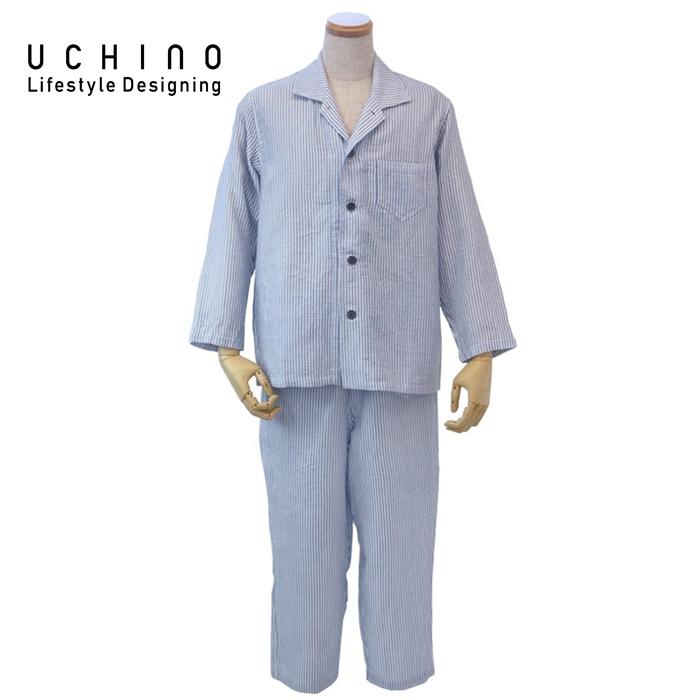 uchino ウチノ マシュマロガーゼストライプメンズパジャマ(XL > ダークブルーRPZ18028 DB XL 《 ルームウェア 内野 ねまき 》