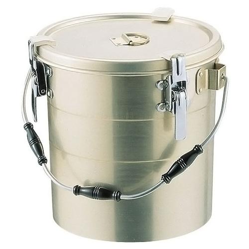 アルマイト 丸型二重クリップ付食缶 (にぎり3ケ付・中蓋なし) 238-A (10L)(238-A )<(10L)>( キッチンブランチ )