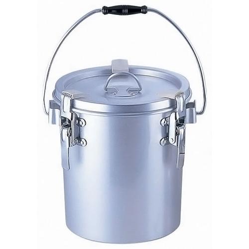 シルバーアルマイト 丸型二重 クリップ付食缶 (中蓋なし) 237-B (6L)(237-B )<(6L)>( キッチンブランチ )