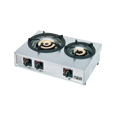 ガステーブルコンロ親子(自動点火) 二口コンロ M-212C LPガス 595×420×H192mm( キッチンブランチ )