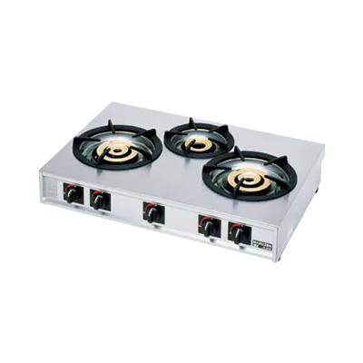 ガステーブルコンロ親子(自動点火) 三口コンロ M-223C LPガス 840×570×H192mm( キッチンブランチ )
