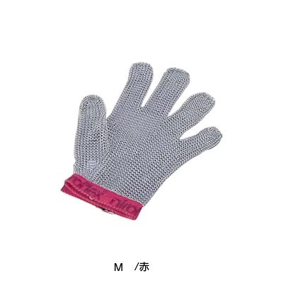 ニロフレックス メッシュ手袋 5本指(片手)(ナイロン繊維ベルト) M M5 <赤 >( キッチンブランチ )