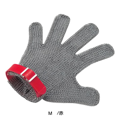 ニロフレックス メッシュ手袋 5本指(片手)M M5L-EF 左手用 <赤 >( キッチンブランチ )