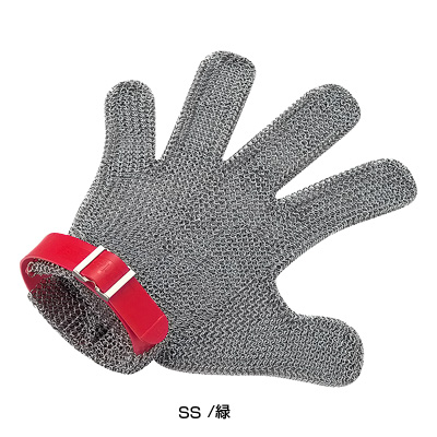 ニロフレックス メッシュ手袋 5本指(片手)SS SS5L-EF左手用 <緑>( キッチンブランチ )