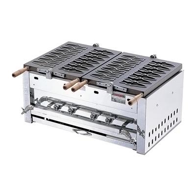 あゆ焼ガス台 EGA-2連(14ヶ型) LPガス 820×490×H340mm( キッチンブランチ )