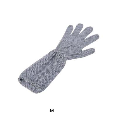 ロングカフ付 メッシュ手袋 5本指(片手)(オールステンレス) M LC-M5-MBO(2)( キッチンブランチ )