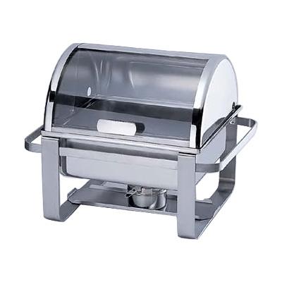KINGO ステンレス 角回転カバー式 チェーフィングデッシュ 2104(Hオープン・透明蓋) 460×350×H370mm( キッチンブランチ )