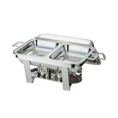 UK 18-8 スタッキング角チェーフィング 角チェーフィングデッシュダブル 16吋 B渕 520×275×H230mm( キッチンブランチ )