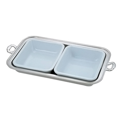 UK 18-8 バロン角チェーフィング用陶器 22インチ(2枚組) 240×280×H70mm( キッチンブランチ )