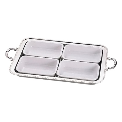 UK 18-8 ユニット角湯煎用陶器セット 4分割 (4枚組) 24インチ用( キッチンブランチ )