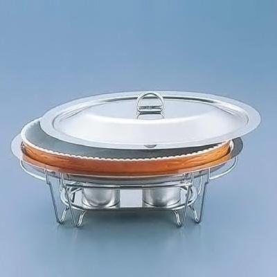 SAブローニュ 小判チェーフィング目皿付 7-PC200-44 492×313×H220mm <茶>( キッチンブランチ )