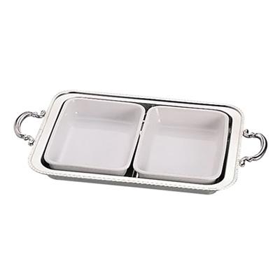UK 18-8 ユニット角湯煎用陶器セット 2分割 (2枚組) 20インチ用( キッチンブランチ )
