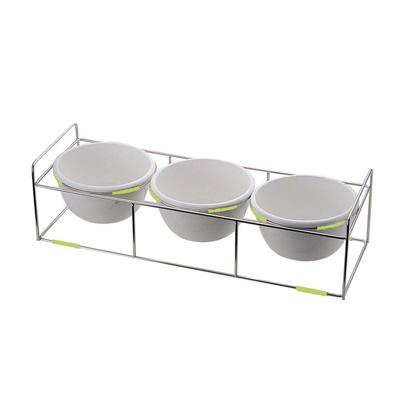 ワイヤースタンドセット BQ9909-2813 (陶器28cmボール付) 870×300×H230mm <グリーン>( キッチンブランチ )