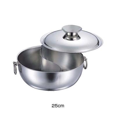 SW 電磁用 しゃぶしゃぶ鍋 仕切付 25cm (ステンレスハンドルツマミ)( キッチンブランチ )