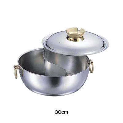 SW 電磁用 しゃぶしゃぶ鍋 仕切付 30cm (真鍮ハンドルツマミ)( キッチンブランチ )