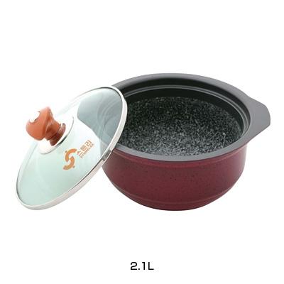 IH アルミ枠付ストーンスープポット(ガラス蓋付) YSIH-0423 2.1L( キッチンブランチ )