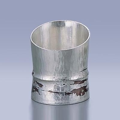 銅錫被 刷毛目竹形 1ツ節ぐい呑 斜カット SG005 80c.c.( キッチンブランチ )