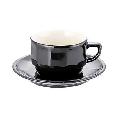アピルコ フローラティーカップ&ソーサー PTFL T FL(6客入) 150ml <ブラック>( キッチンブランチ )