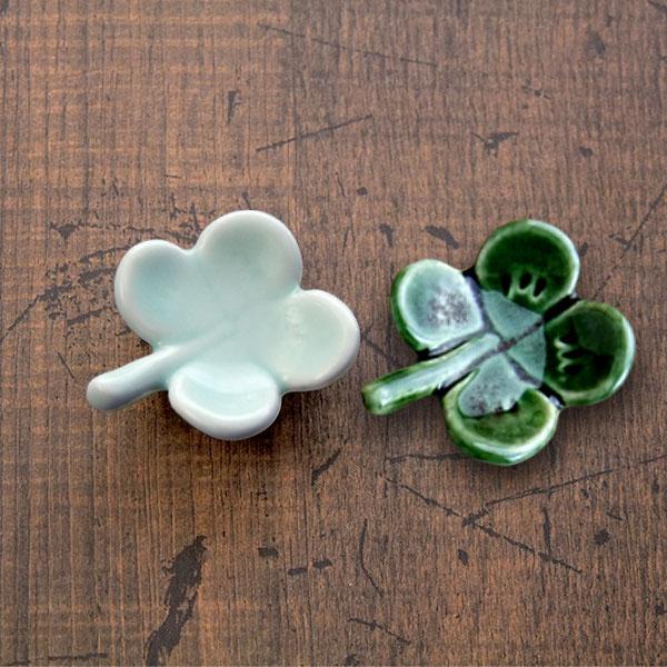 幸せを呼び 箸置き 手作り クローバー はしおき レスト 選べる2色 在庫処分 OR 激安価格と即納で通信販売 メール便OK 深緑 うす緑 かわいい おしゃれ 業務用食器