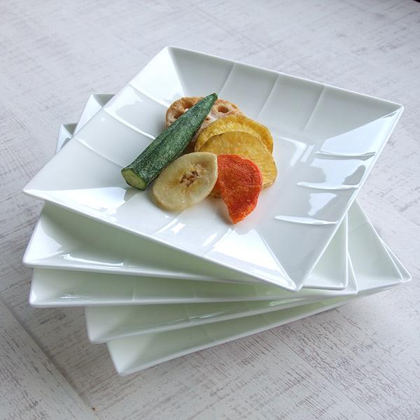 洋食器 ボンチャイナスクエアープレート5枚セット 皿立てプレゼント 16cm 四角 プ洋食器 おしゃれ 取り皿 角皿 白い食器