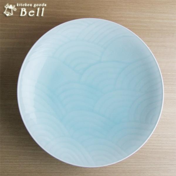 快山窯 青白磁 波 尺一皿 33.5cm 箱入 手彫/高級 大皿 盛り皿/和食器/業務用食器