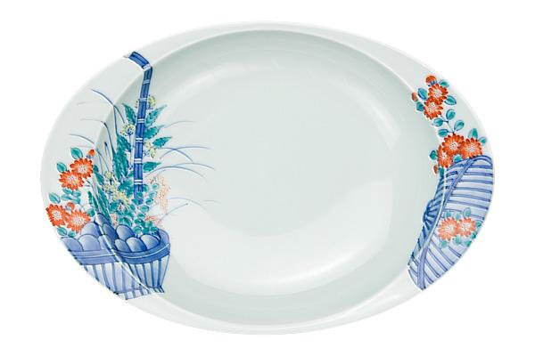 日本製 有田焼 匠の蔵 極上のカレー皿 花篭