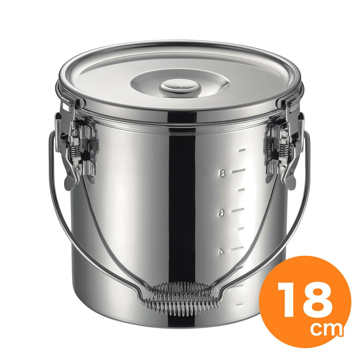 仔犬印 19-0 IH対応スタッキング給食缶 18cm 4.4L