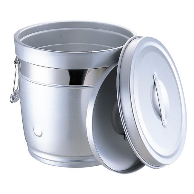 233 シルバーアルマイト 丸型二重中蓋式食缶 12L