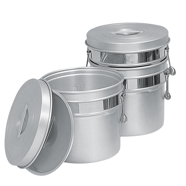 245-R シルバーアルマイト段付二重食缶 6L
