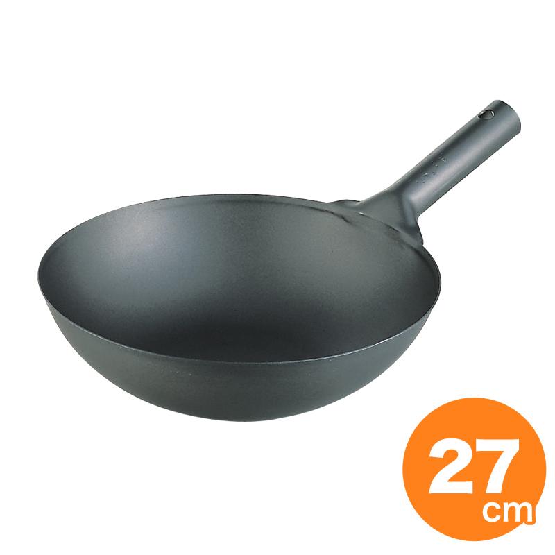 クマタカ印 純チタン共柄北京鍋 27cm 中華鍋 片手