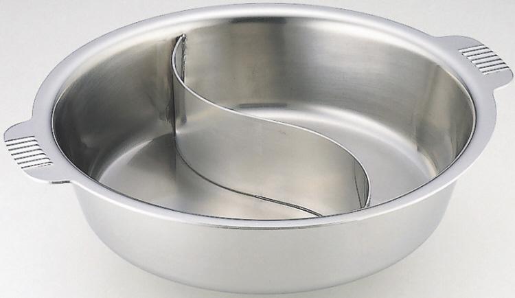 ●3~4人用● 日本製 SW Nbステンレス製 電磁ちり鍋 2仕切り付 29cm