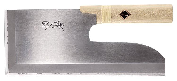 そば包丁 切れ者ステン金2号鋼麺切り包丁(左きき用) 300mm A-1043