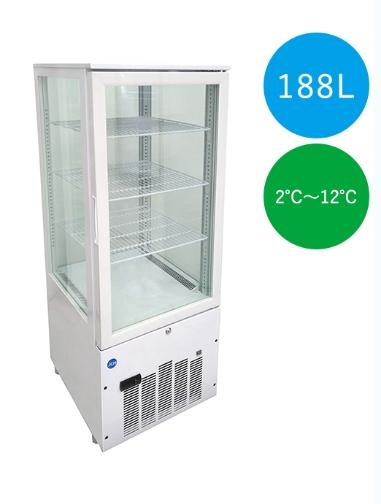 【送料無料】新品!ジェーシーエム/JCM 4面ガラス冷蔵ショーケース(片面扉)【JCMS-188】