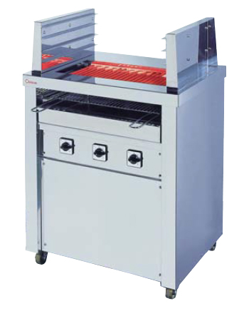 【送料無料】押切電機 スタンド型 電気グリラー (両面焼) 上3段下1段焼棚付 G-10W