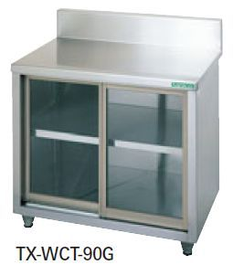 【送料無料】新品!タニコー 調理台/ガラス戸式 (バックガードあり) W900*D600*H800 TX-WCT-90G